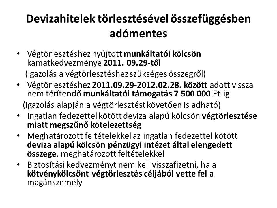 Devizahitelek törlesztésével összefüggésben adómentes Végtörlesztéshez nyújtott munkáltatói kölcsön kamatkedvezménye 2011.
