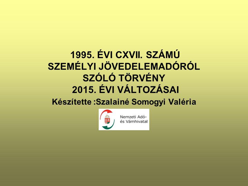 1995. ÉVI CXVII. SZÁMÚ SZEMÉLYI JÖVEDELEMADÓRÓL SZÓLÓ TÖRVÉNY 2015. ÉVI VÁLTOZÁSAI Készítette :Szalainé Somogyi Valéria
