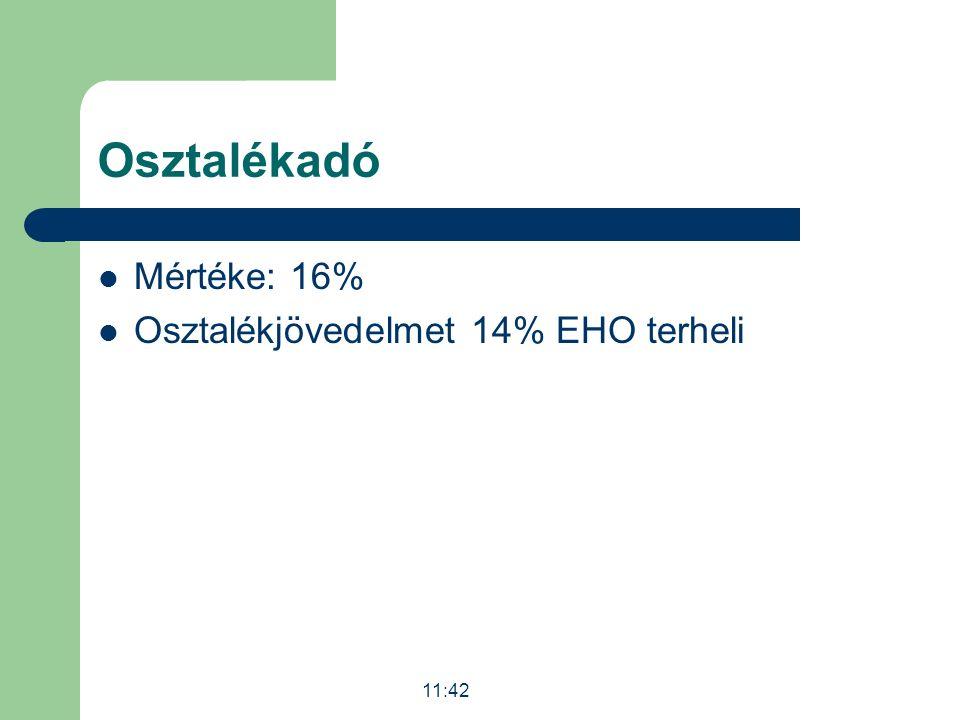 Osztalékadó Mértéke: 16% Osztalékjövedelmet 14% EHO terheli 11:43