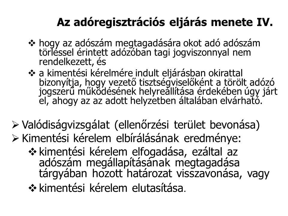 Az adóregisztrációs eljárás menete IV.  hogy az adószám megtagadására okot adó adószám törléssel érintett adózóban tagi jogviszonnyal nem rendelkezet