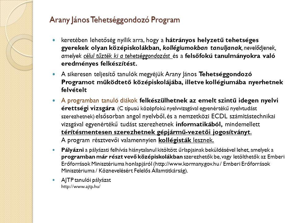 Arany János Tehetséggondozó Program keretében lehetőség nyílik arra, hogy a hátrányos helyzetű tehetséges gyerekek olyan középiskolákban, kollégiumokban tanuljanak, nevelődjenek, amelyek célul tűzték ki a tehetséggondozást és a felsőfokú tanulmányokra való eredményes felkészítést.