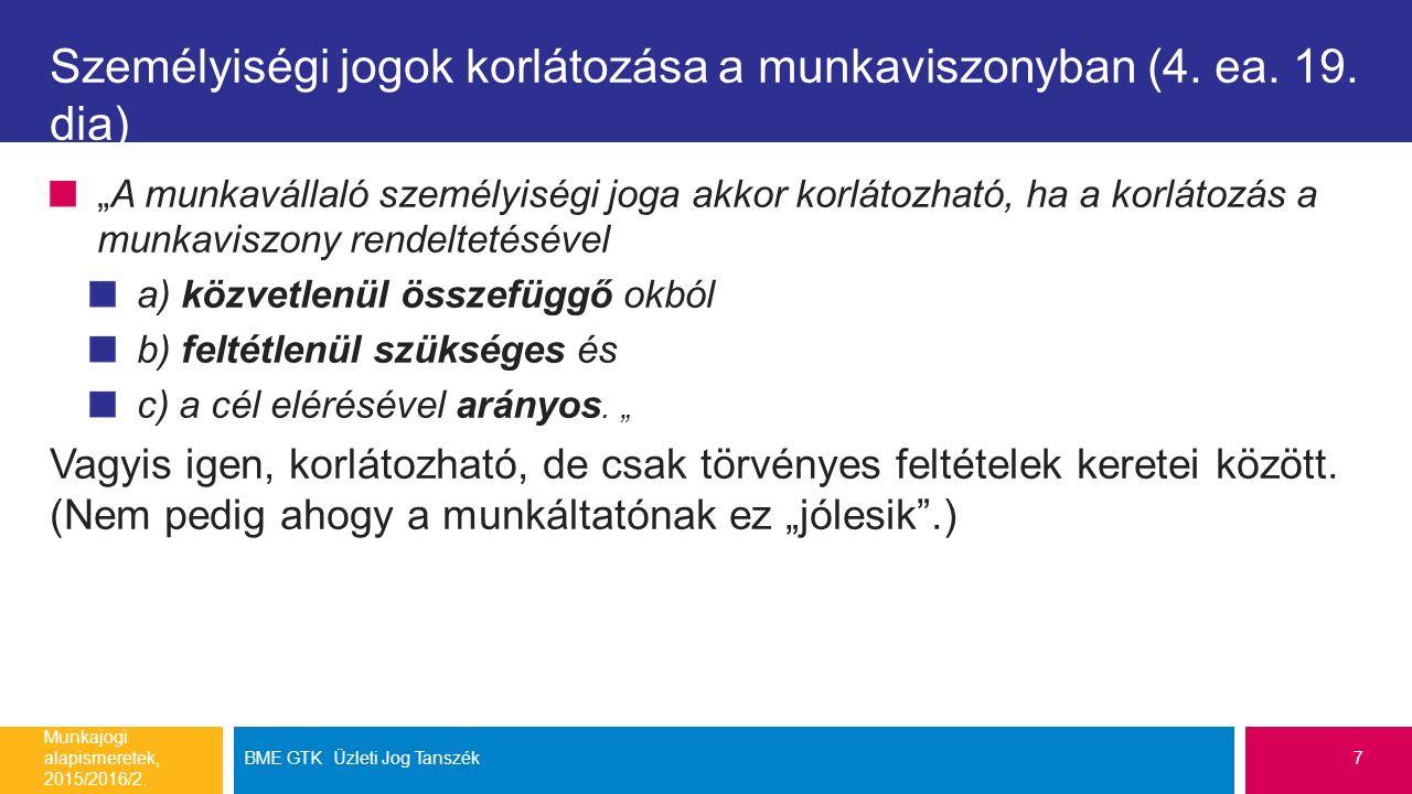 Személyiségi jogok korlátozása a munkaviszonyban (4.