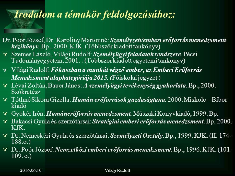 Világi Rudolf A témakörhöz kapcsolódó további területek (amiről a tétel kapcsán még beszélni lehet) A munkahelyi szocializáció és a  Karrier-menedzsment összefüggése  Teljesítmény-menedzsment összefüggése  Munkaerő-fejlesztés összefüggése 2016.06.10