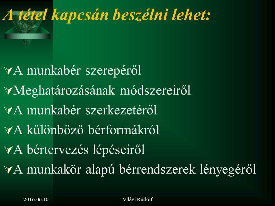 2016.06.10Világi Rudolf 15. tétel Mutassa be a bértervezés folyamatát és feladatait! Ismertesse a korszerű bérrendszerek lényegét!
