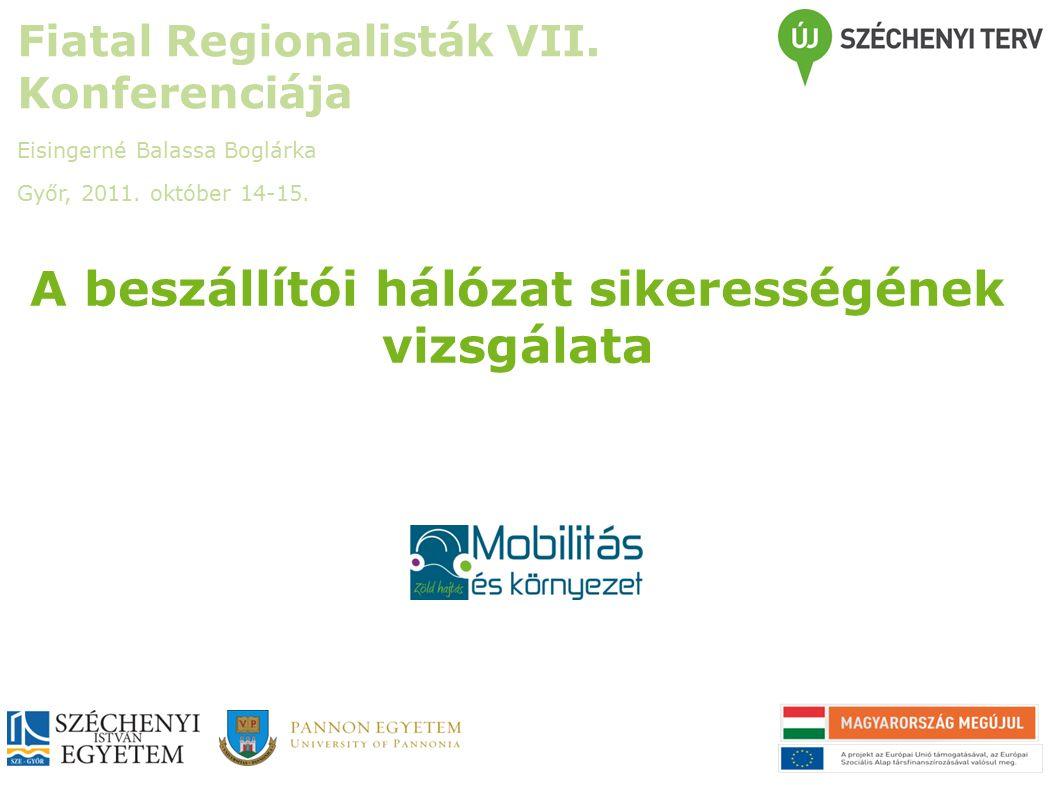 A beszállítói hálózat sikerességének vizsgálata Fiatal Regionalisták VII.