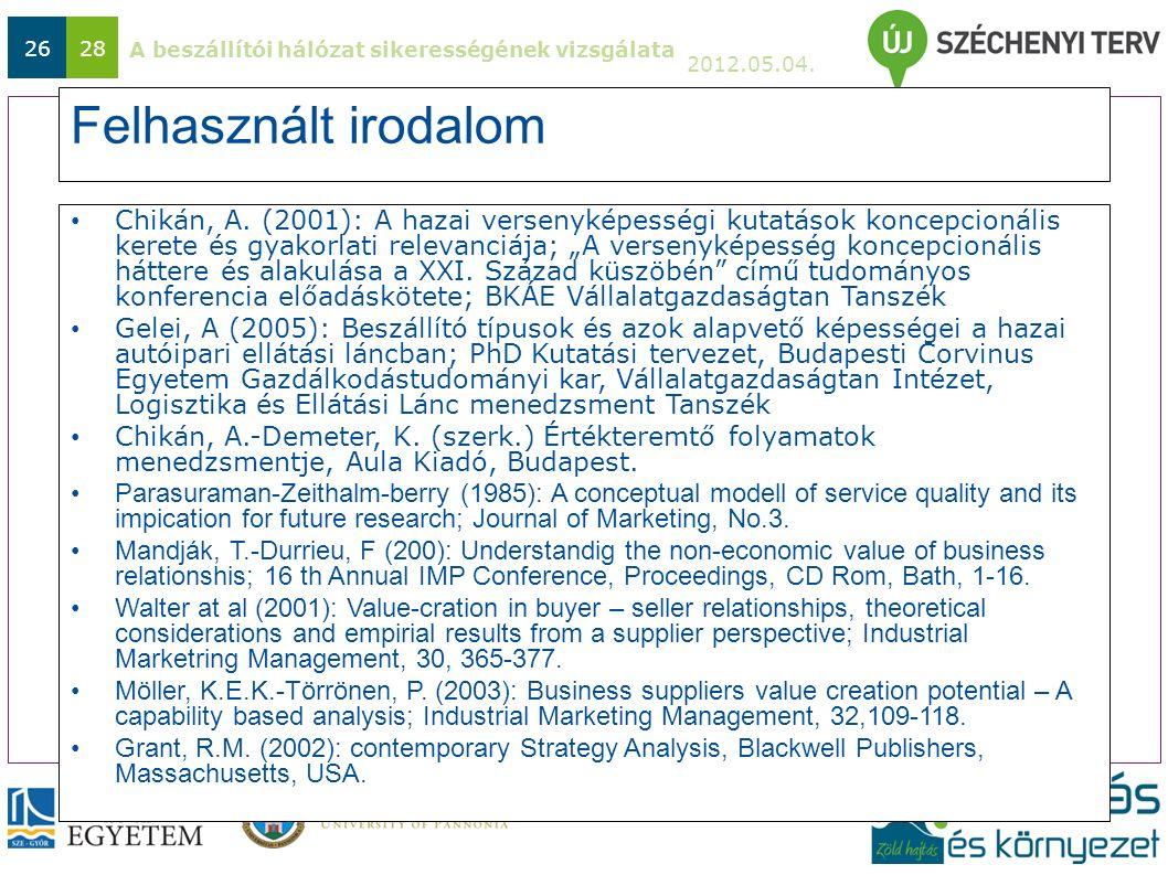 A beszállítói hálózat sikerességének vizsgálata 2012.05.04. 2628 Felhasznált irodalom Chikán, A. (2001): A hazai versenyképességi kutatások koncepcion