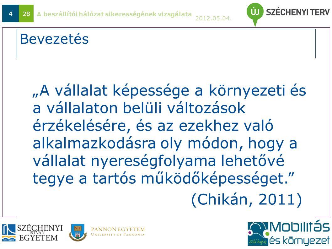 """A beszállítói hálózat sikerességének vizsgálata 2012.05.04. 428 Bevezetés """"A vállalat képessége a környezeti és a vállalaton belüli változások érzékel"""
