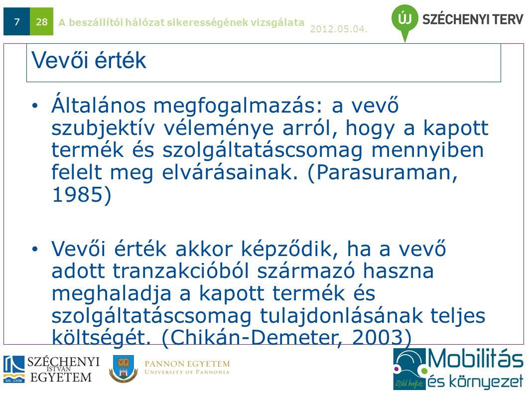 A beszállítói hálózat sikerességének vizsgálata 2012.05.04. 728 Vevői érték Általános megfogalmazás: a vevő szubjektív véleménye arról, hogy a kapott