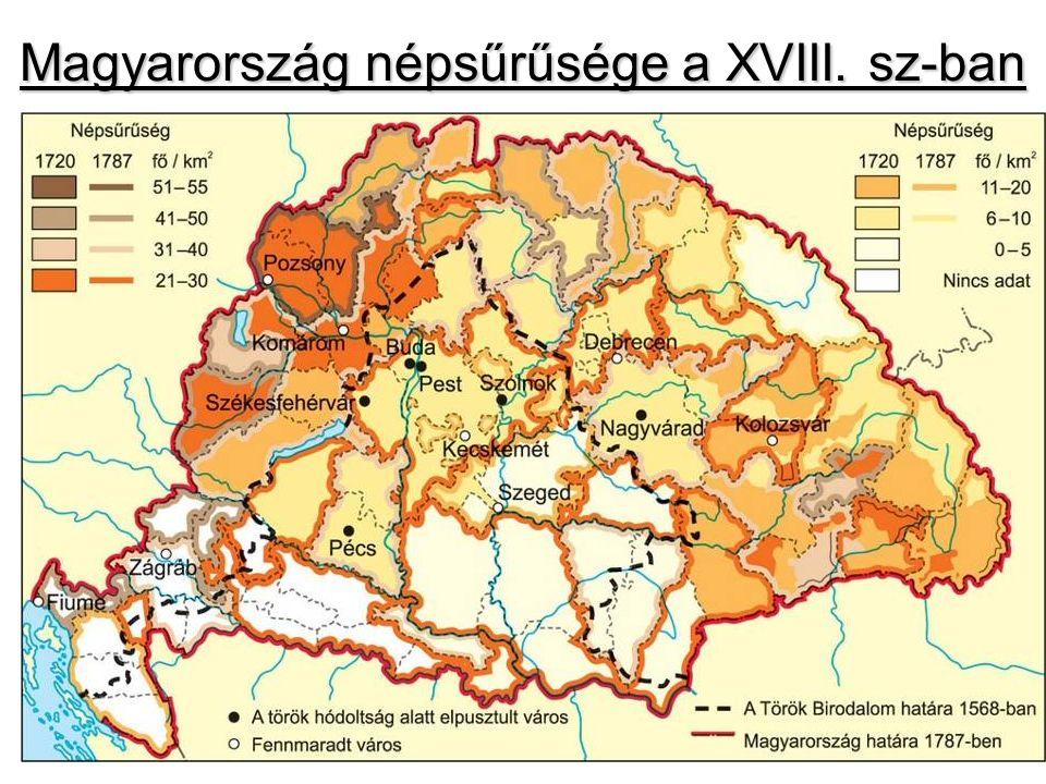 Magyarország népsűrűsége a XVIII. sz-ban