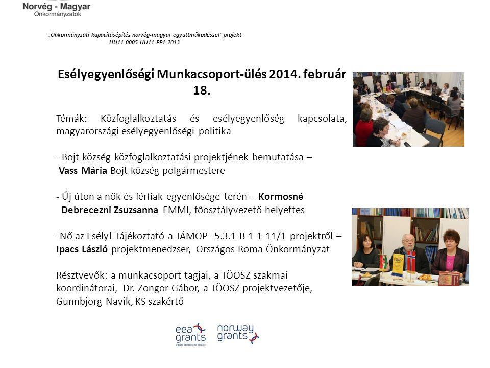 """""""Önkormányzati kapacitásépítés norvég‐magyar együttműködéssel"""" projekt HU11-0005-HU11-PP1-2013 Esélyegyenlőségi Munkacsoport-ülés 2014. február 18. Té"""