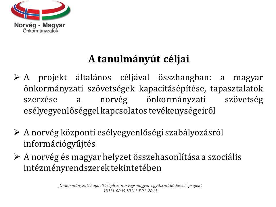 A tanulmányút céljai  A projekt általános céljával összhangban: a magyar önkormányzati szövetségek kapacitásépítése, tapasztalatok szerzése a norvég