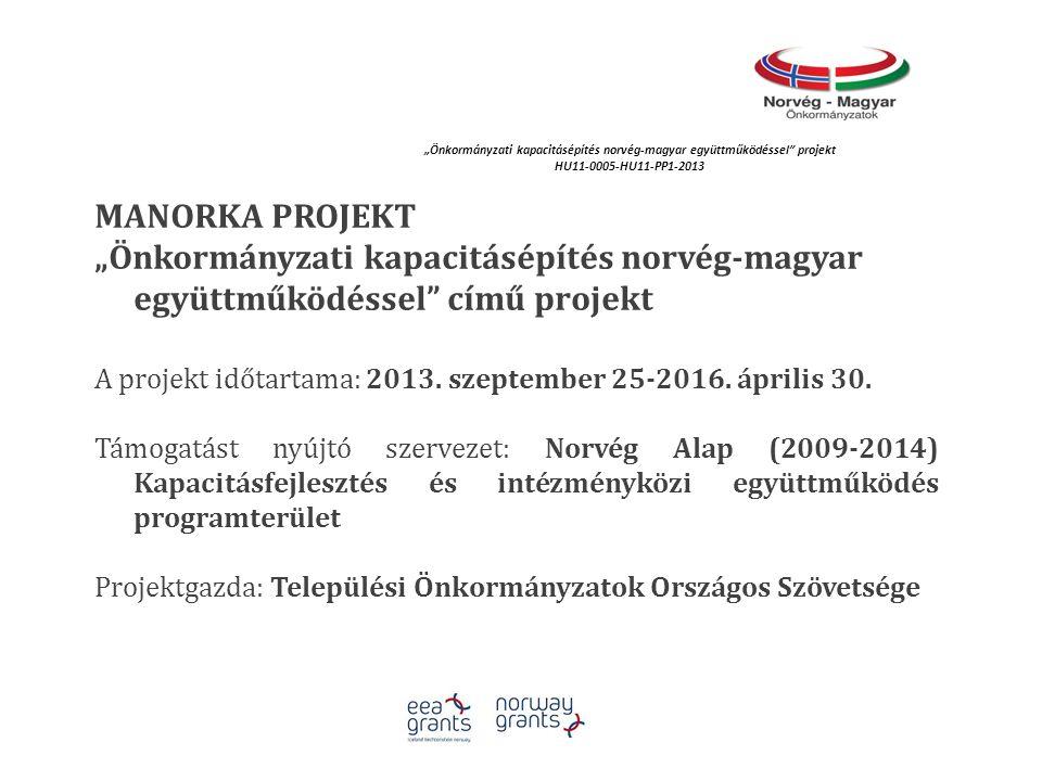 """MANORKA PROJEKT """"Önkormányzati kapacitásépítés norvég-magyar együttműködéssel"""" című projekt A projekt időtartama: 2013. szeptember 25-2016. április 30"""