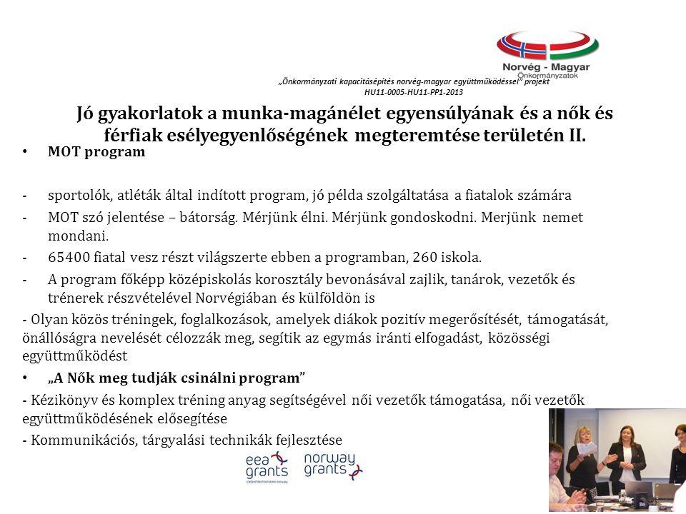 """""""Önkormányzati kapacitásépítés norvég‐magyar együttműködéssel"""" projekt HU11-0005-HU11-PP1-2013 Jó gyakorlatok a munka-magánélet egyensúlyának és a nők"""