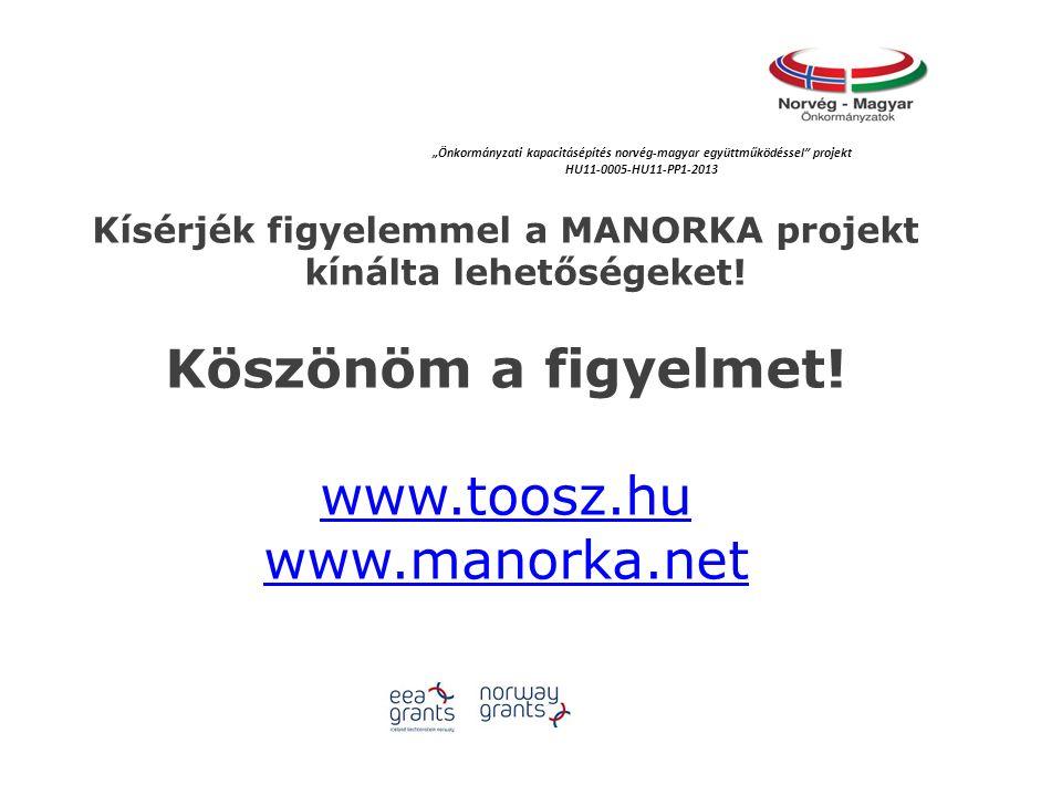 """Kísérjék figyelemmel a MANORKA projekt kínálta lehetőségeket! Köszönöm a figyelmet! www.toosz.hu www.manorka.net """"Önkormányzati kapacitásépítés norvég"""
