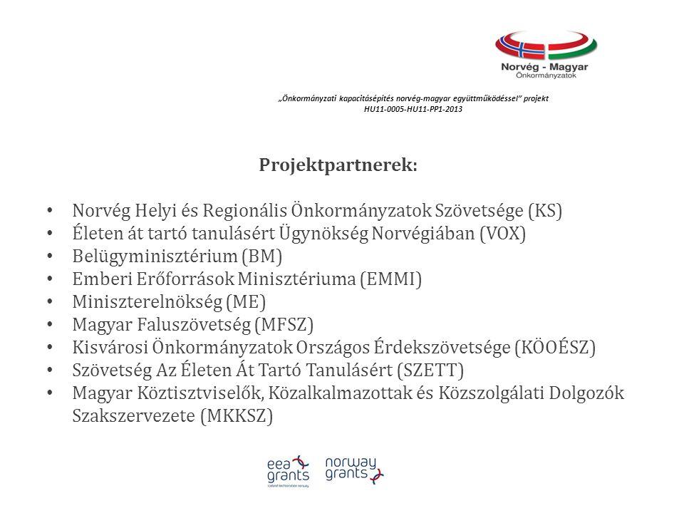 """""""Önkormányzati kapacitásépítés norvég‐magyar együttműködéssel projekt HU11-0005-HU11-PP1-2013 A projekt céljai: a helyi demokrácia fejlesztése az önkormányzati szövetségek norvég- magyar tapasztalatcseréje és szakmai együttműködés által; a nők szerepvállalásának erősítése a közéletben, a munka és magánélet egyensúlyának elősegítése; az önkormányzati érdekképviselet és érdekérvényesítés rendszerének megújítása; a jó gyakorlatok és tapasztalatok feltárása és együttműködési hálózatok kialakítása; az önkormányzati és járási hivatalok együttműködésének segítése a közigazgatási reform végrehajtása során."""