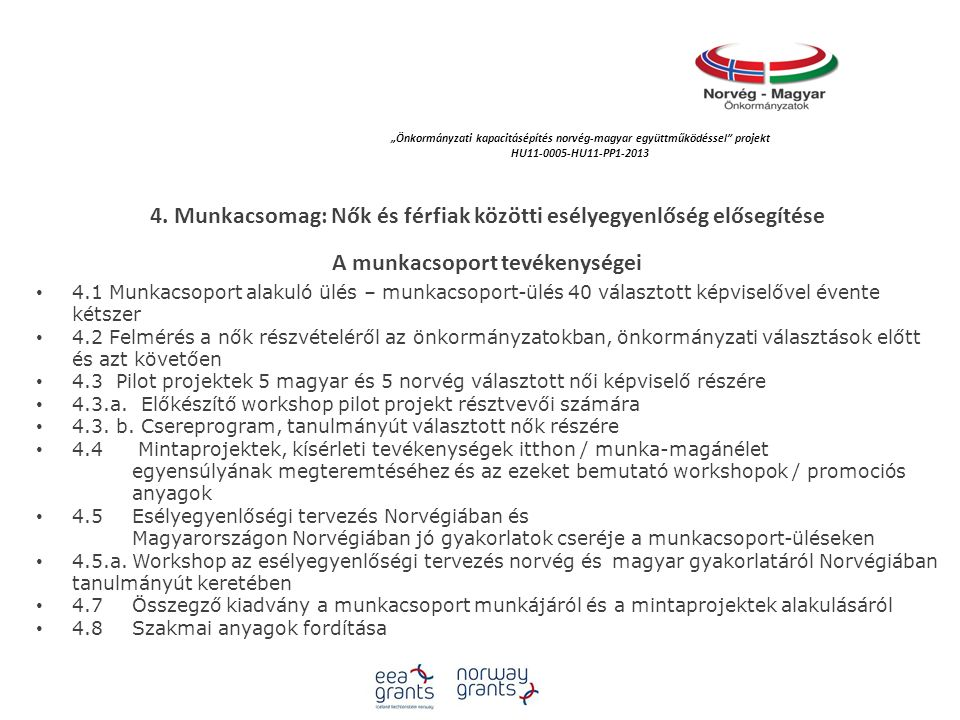 """""""Önkormányzati kapacitásépítés norvég‐magyar együttműködéssel projekt HU11-0005-HU11-PP1-2013 Az önkormányzat, mint munkahely:  Biztosíthatja az """"egyenlő munkáért, egyenlő bért  Biztosíthatja a rugalmasságot munkavállalóinak ha a hivatali-ügyfélfogadási rend fenntartása mellett  Biztosíthatja munkavállalói védelmét személyes biztonságát  Hozhat családbarát intézkedéseket  Teendőit, cselekvéseit összefoglalhatja egy esélyegyenlőségi tervben Az esélyegyenlőségi felmérés konklúziója II."""