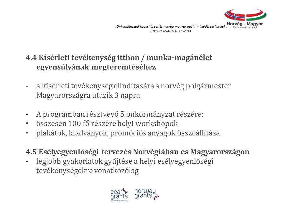 4.4 Kísérleti tevékenység itthon / munka-magánélet egyensúlyának megteremtéséhez -a kísérleti tevékenység elindítására a norvég polgármester Magyarors