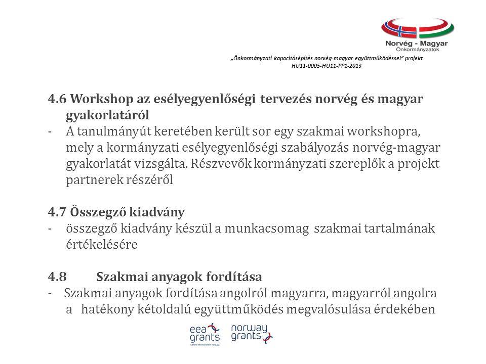 4.6 Workshop az esélyegyenlőségi tervezés norvég és magyar gyakorlatáról - A tanulmányút keretében került sor egy szakmai workshopra, mely a kormányza