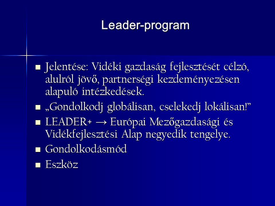Leader-program Jelentése: Vidéki gazdaság fejlesztését célzó, alulról jöv ő, partnerségi kezdeményezésen alapuló intézkedések.
