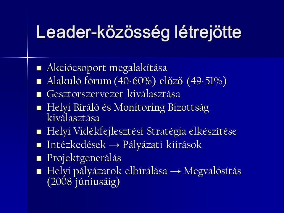 Leader-közösség létrejötte Akciócsoport megalakítása Akciócsoport megalakítása Alakuló fórum (40-60%) el ő z ő (49-51%) Alakuló fórum (40-60%) el ő z ő (49-51%) Gesztorszervezet kiválasztása Gesztorszervezet kiválasztása Helyi Bíráló és Monitoring Bizottság kiválasztása Helyi Bíráló és Monitoring Bizottság kiválasztása Helyi Vidékfejlesztési Stratégia elkészítése Helyi Vidékfejlesztési Stratégia elkészítése Intézkedések → Pályázati kiírások Intézkedések → Pályázati kiírások Projektgenerálás Projektgenerálás Helyi pályázatok elbírálása → Megvalósítás (2008 júniusáig) Helyi pályázatok elbírálása → Megvalósítás (2008 júniusáig)