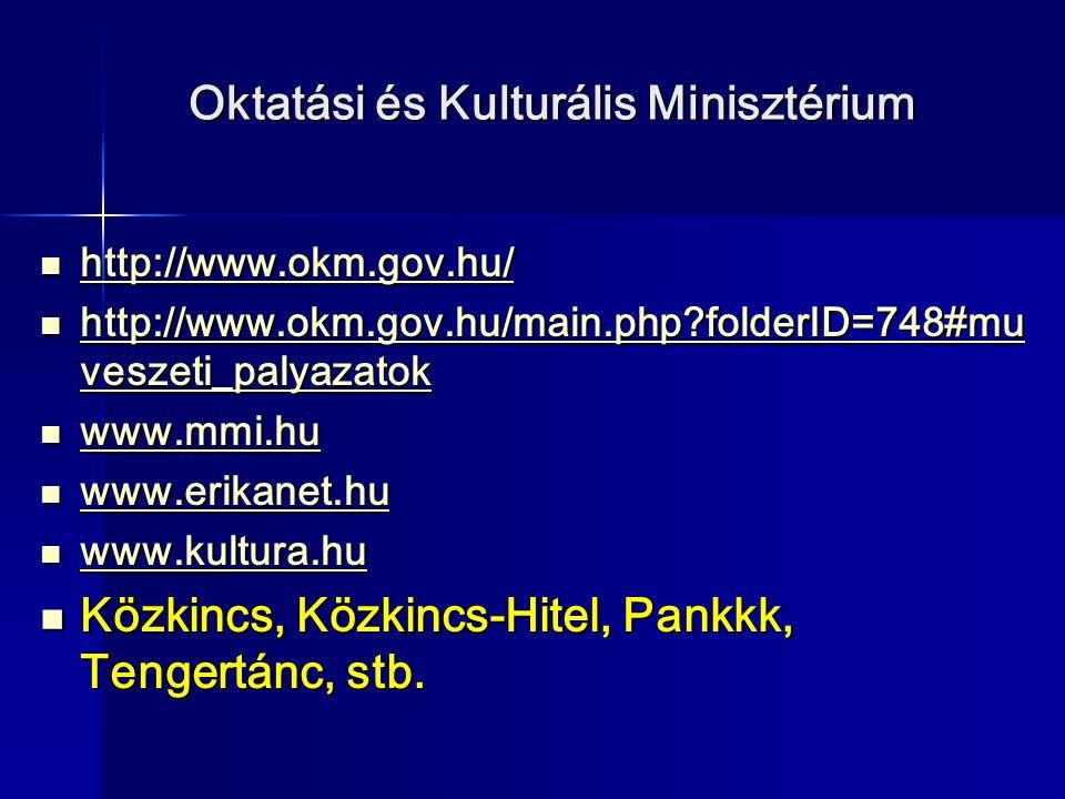 Oktatási és Kulturális Minisztérium http://www.okm.gov.hu/ http://www.okm.gov.hu/ http://www.okm.gov.hu/ http://www.okm.gov.hu/main.php?folderID=748#mu veszeti_palyazatok http://www.okm.gov.hu/main.php?folderID=748#mu veszeti_palyazatok http://www.okm.gov.hu/main.php?folderID=748#mu veszeti_palyazatok http://www.okm.gov.hu/main.php?folderID=748#mu veszeti_palyazatok www.mmi.hu www.mmi.hu www.mmi.hu www.erikanet.hu www.erikanet.hu www.erikanet.hu www.kultura.hu www.kultura.hu www.kultura.hu Közkincs, Közkincs-Hitel, Pankkk, Tengertánc, stb.