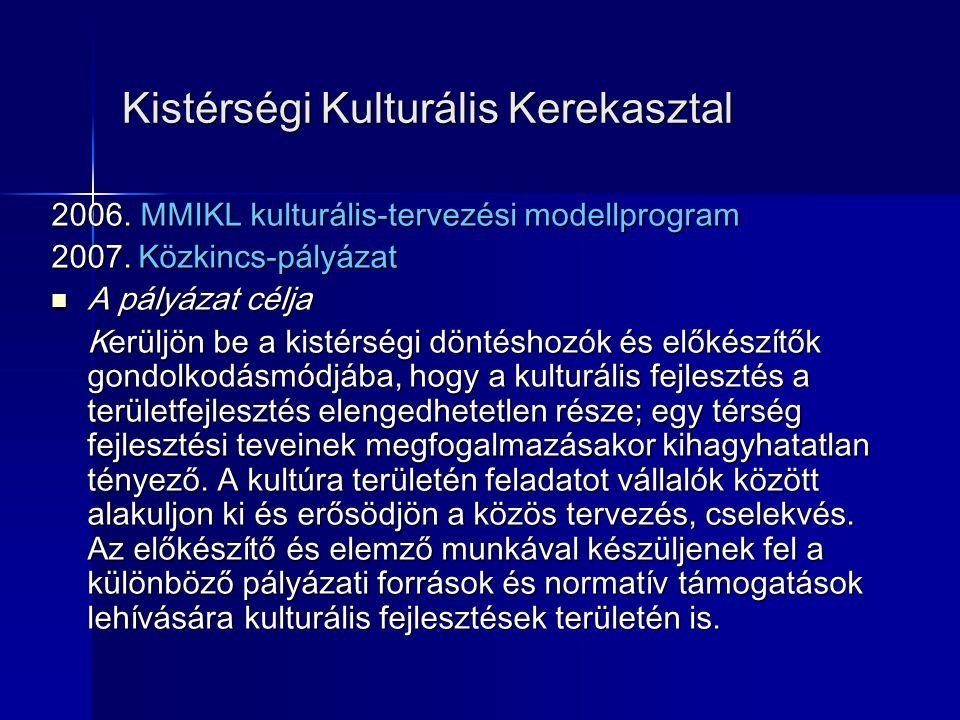 Kistérségi Kulturális Kerekasztal 2006.MMIKL kulturális-tervezési modellprogram 2007.