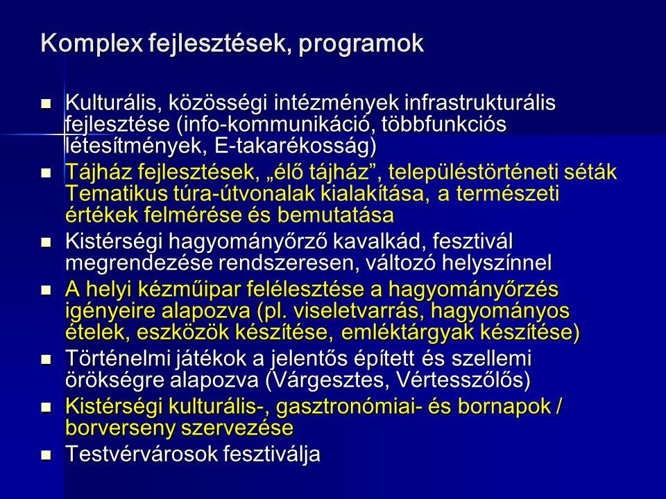 """Komplex fejlesztések, programok Kulturális, közösségi intézmények infrastrukturális fejlesztése (info-kommunikáció, többfunkciós létesítmények, E-takarékosság) Kulturális, közösségi intézmények infrastrukturális fejlesztése (info-kommunikáció, többfunkciós létesítmények, E-takarékosság) Tájház fejlesztések, """"élő tájház , településtörténeti séták Tematikus túra-útvonalak kialakítása, a természeti értékek felmérése és bemutatása Kistérségi hagyományőrző kavalkád, fesztivál megrendezése rendszeresen, változó helyszínnel Kistérségi hagyományőrző kavalkád, fesztivál megrendezése rendszeresen, változó helyszínnel A helyi kézműipar felélesztése a hagyományőrzés igényeire alapozva (pl."""