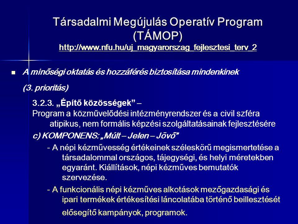 Társadalmi Megújulás Operatív Program (TÁMOP) Társadalmi Megújulás Operatív Program (TÁMOP) http://www.nfu.hu/uj_magyarorszag_fejlesztesi_terv_2 http://www.nfu.hu/uj_magyarorszag_fejlesztesi_terv_2 A minőségi oktatás és hozzáférés biztosítása mindenkinek (3.