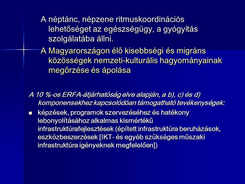 A néptánc, népzene ritmuskoordinációs lehetőséget az egészségügy, a gyógyítás szolgálatába állni. A Magyarországon élő kisebbségi és migráns közössége