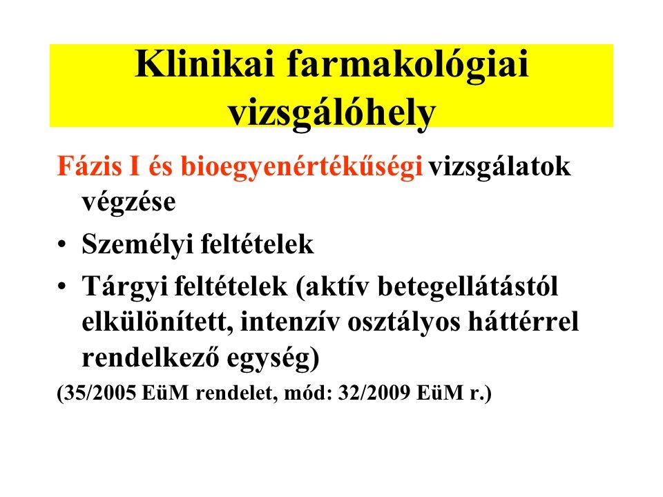 Klinikai farmakológiai vizsgálóhely Fázis I és bioegyenértékűségi vizsgálatok végzése Személyi feltételek Tárgyi feltételek (aktív betegellátástól elkülönített, intenzív osztályos háttérrel rendelkező egység) (35/2005 EüM rendelet, mód: 32/2009 EüM r.)