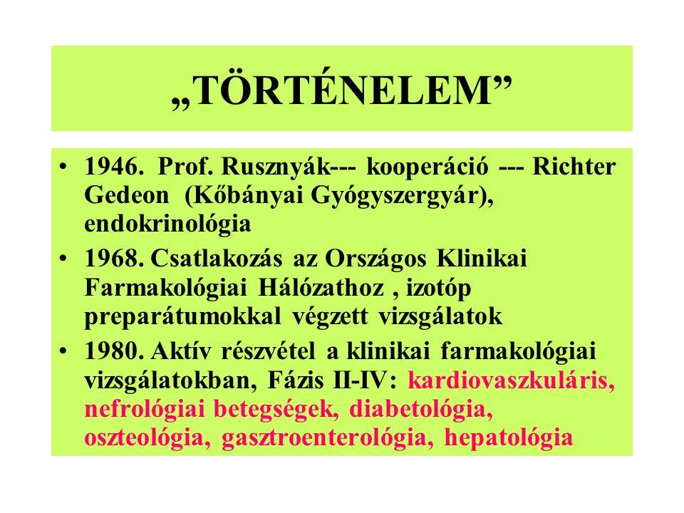 """""""TÖRTÉNELEM"""" 1946. Prof. Rusznyák--- kooperáció --- Richter Gedeon (Kőbányai Gyógyszergyár), endokrinológia 1968. Csatlakozás az Országos Klinikai Far"""