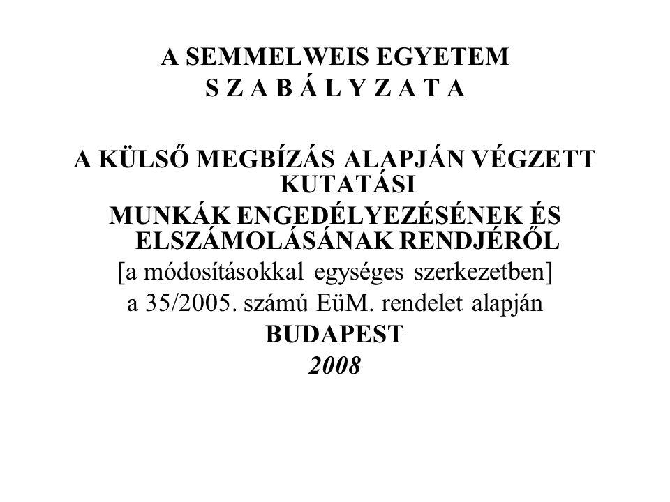 A SEMMELWEIS EGYETEM S Z A B Á L Y Z A T A A KÜLSŐ MEGBÍZÁS ALAPJÁN VÉGZETT KUTATÁSI MUNKÁK ENGEDÉLYEZÉSÉNEK ÉS ELSZÁMOLÁSÁNAK RENDJÉRŐL [a módosításokkal egységes szerkezetben] a 35/2005.
