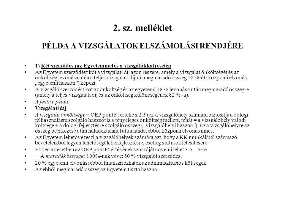 2. sz. melléklet PÉLDA A VIZSGÁLATOK ELSZÁMOLÁSI RENDJÉRE 1) Két szerződés (az Egyetemmel és a vizsgálókkal) esetén Az Egyetem szerződést köt a vizsgá