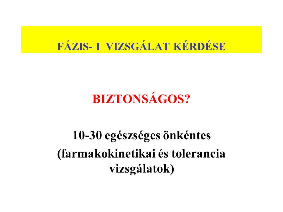 FÁZIS- I VIZSGÁLAT KÉRDÉSE BIZTONSÁGOS? 10-30 egészséges önkéntes (farmakokinetikai és tolerancia vizsgálatok)