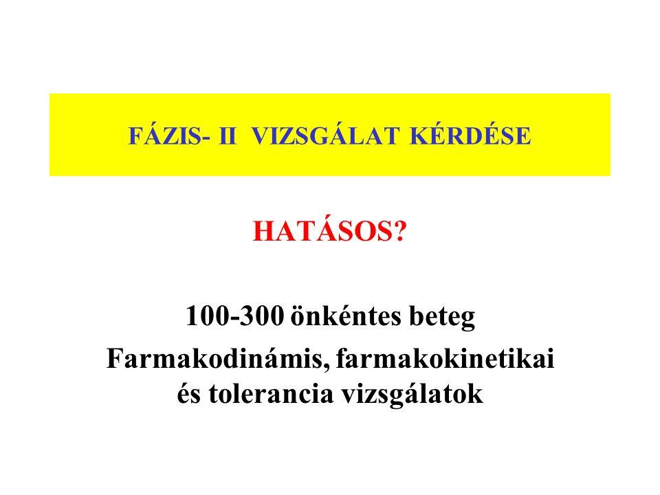 FÁZIS- II VIZSGÁLAT KÉRDÉSE HATÁSOS? 100-300 önkéntes beteg Farmakodinámis, farmakokinetikai és tolerancia vizsgálatok