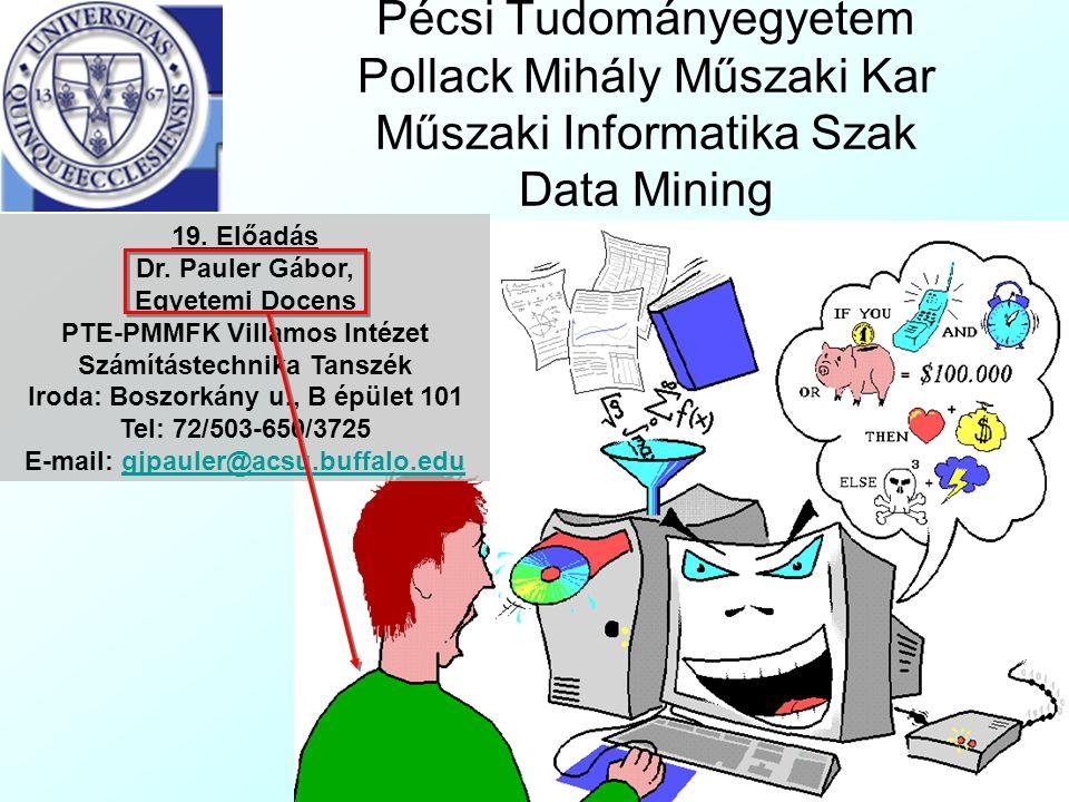 Pécsi Tudományegyetem Pollack Mihály Műszaki Kar Műszaki Informatika Szak Data Mining 19.