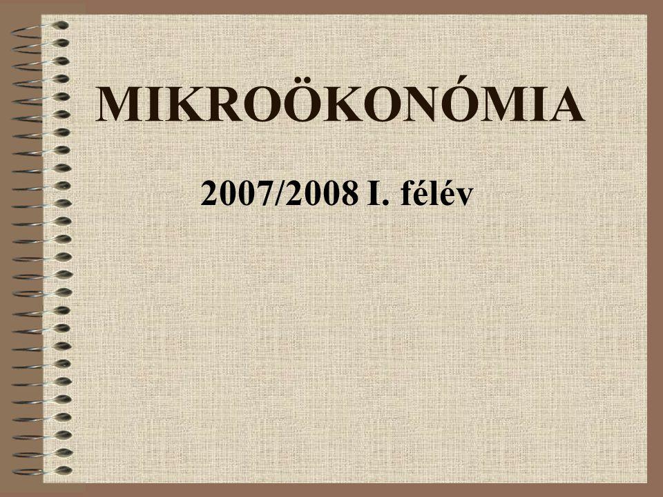 MIKROÖKONÓMIA 2007/2008 I. félév