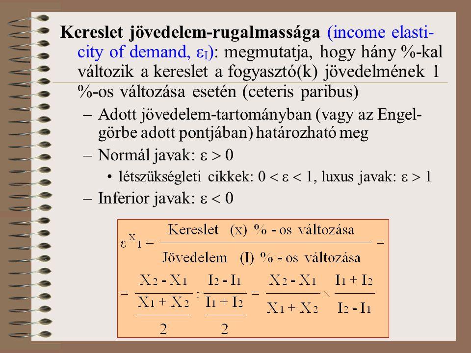 Kereslet jövedelem-rugalmassága (income elasti- city of demand,  I ): megmutatja, hogy hány %-kal változik a kereslet a fogyasztó(k) jövedelmének 1 %-os változása esetén (ceteris paribus) –Adott jövedelem-tartományban (vagy az Engel- görbe adott pontjában) határozható meg –Normál javak:   0 létszükségleti cikkek: 0    1, luxus javak:   1 –Inferior javak:   0