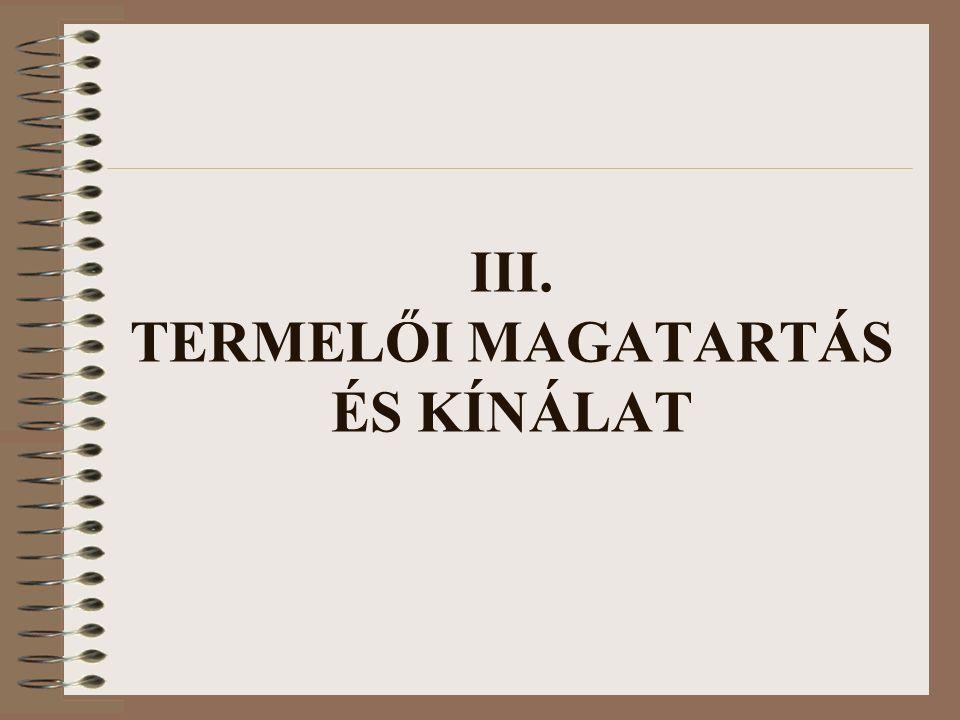 III. TERMELŐI MAGATARTÁS ÉS KÍNÁLAT