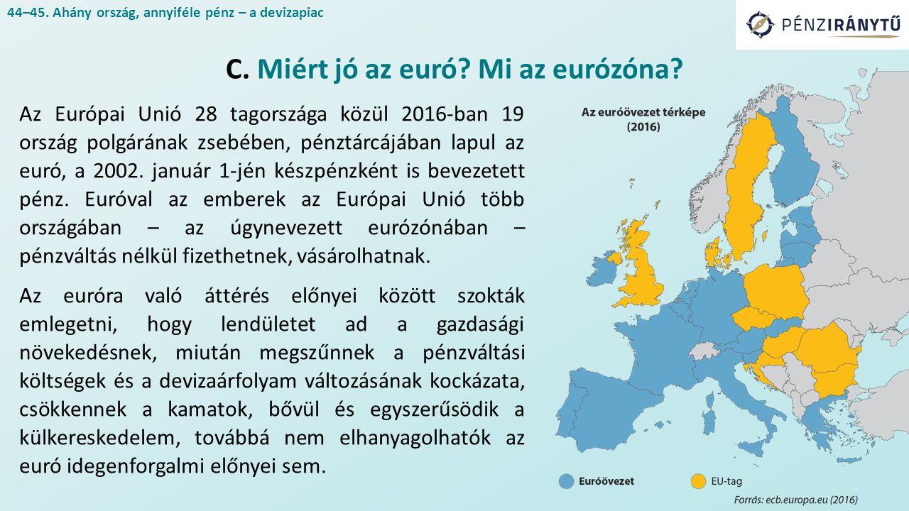Az Európai Unió 28 tagországa közül 2016-ban 19 ország polgárának zsebében, pénztárcájában lapul az euró, a 2002.