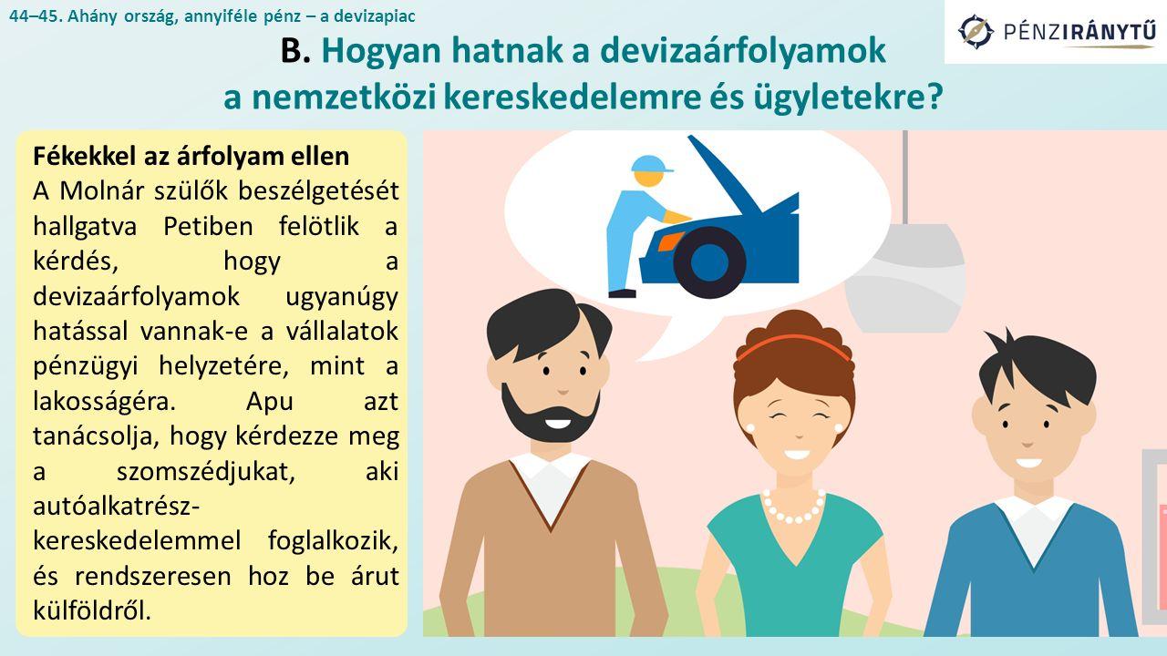 Fékekkel az árfolyam ellen A Molnár szülők beszélgetését hallgatva Petiben felötlik a kérdés, hogy a devizaárfolyamok ugyanúgy hatással vannak-e a vállalatok pénzügyi helyzetére, mint a lakosságéra.
