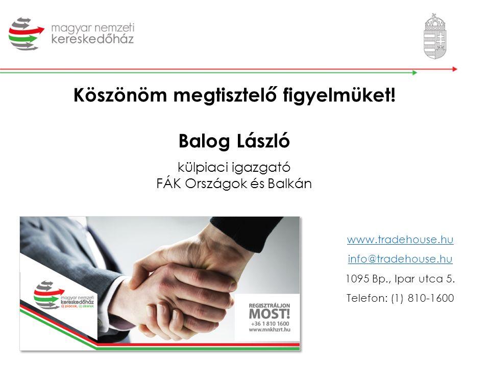 Köszönöm megtisztelő figyelmüket! Balog László külpiaci igazgató FÁK Országok és Balkán www.tradehouse.hu info@tradehouse.hu 1095 Bp., Ipar utca 5. Te