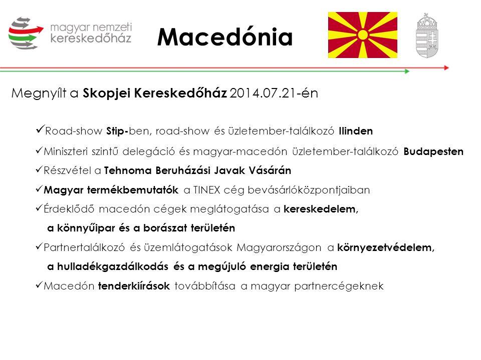 Macedónia EXPORT szennyvízkezelő rendszerek hulladék-feldolgozó gépek intelligens közvilágítás orvosi műszerek hús,- és húskészítmények bio élelmiszerek zöldség-gyümölcs pezsgő gumiabroncsok koporsó kozmetikumok útburkolati festékek IMPORT gyapjú gránit és pala burkolólapok kősó sportruházat csemegeszőlő Üzleti lehetőségek