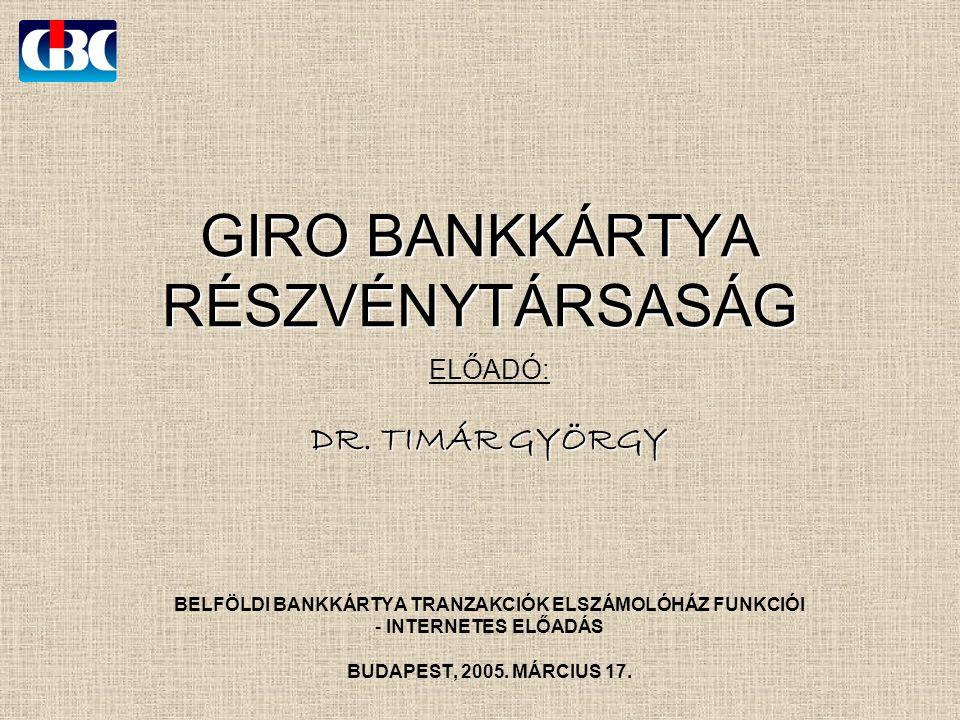GIRO BANKKÁRTYA RÉSZVÉNYTÁRSASÁG ELŐADÓ: DR.