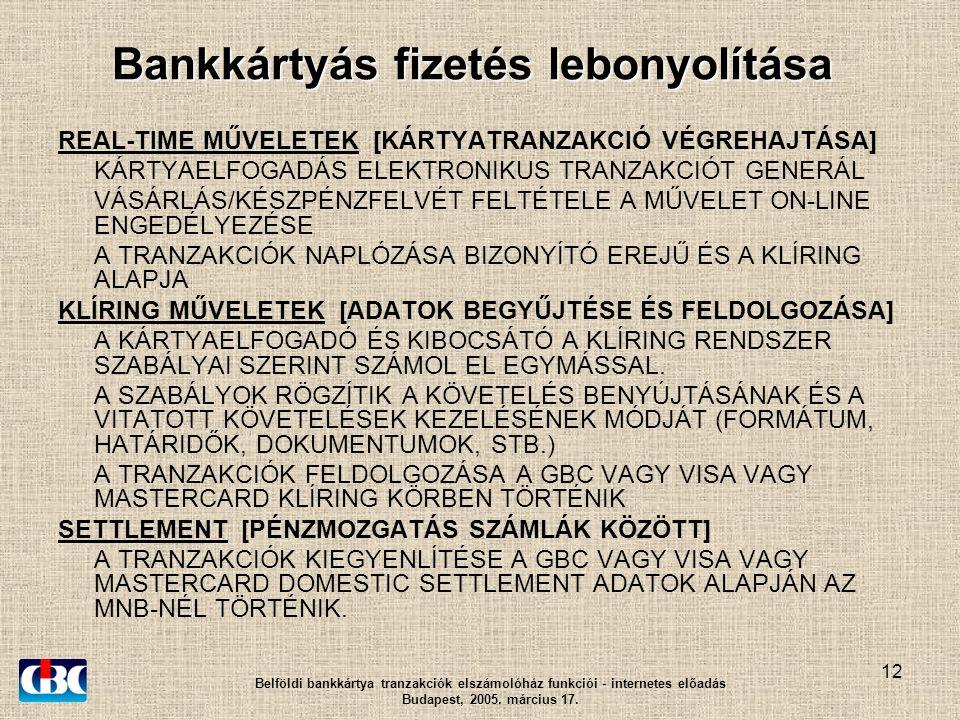 12 Bankkártyás fizetés lebonyolítása REAL-TIME MŰVELETEK [KÁRTYATRANZAKCIÓ VÉGREHAJTÁSA] KÁRTYAELFOGADÁS ELEKTRONIKUS TRANZAKCIÓT GENERÁL VÁSÁRLÁS/KÉSZPÉNZFELVÉT FELTÉTELE A MŰVELET ON-LINE ENGEDÉLYEZÉSE A TRANZAKCIÓK NAPLÓZÁSA BIZONYÍTÓ EREJŰ ÉS A KLÍRING ALAPJA KLÍRING MŰVELETEK [ADATOK BEGYŰJTÉSE ÉS FELDOLGOZÁSA] A KÁRTYAELFOGADÓ ÉS KIBOCSÁTÓ A KLÍRING RENDSZER SZABÁLYAI SZERINT SZÁMOL EL EGYMÁSSAL.
