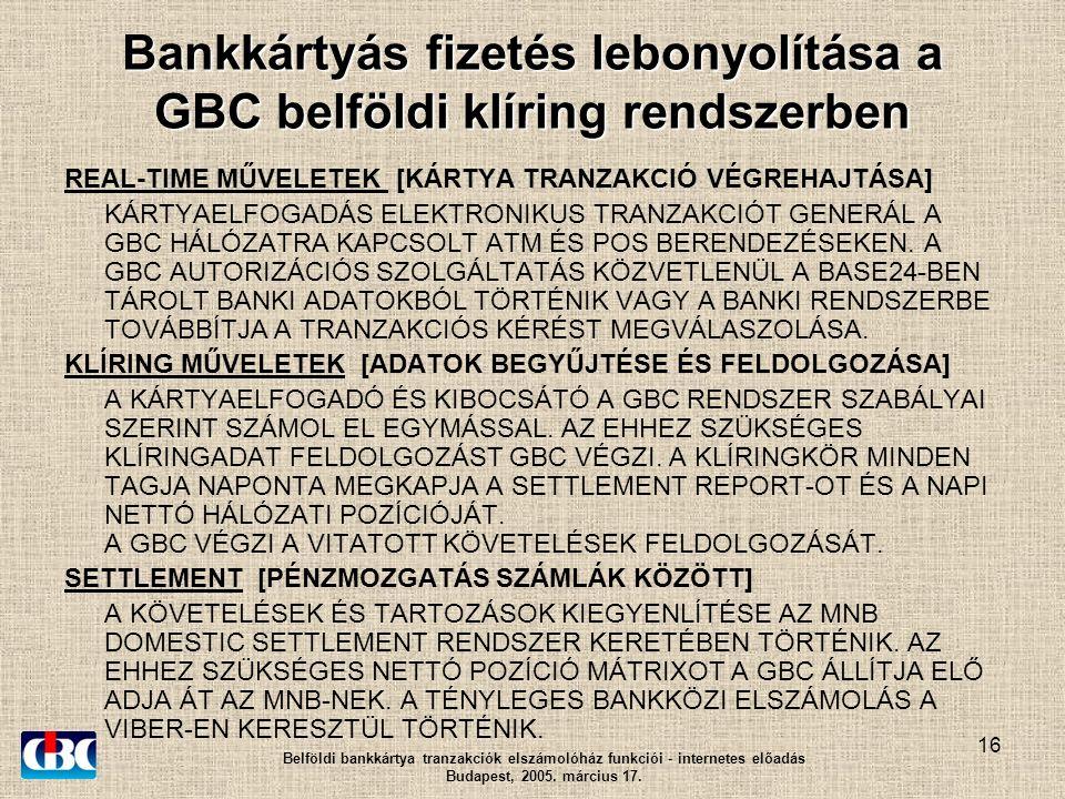 16 Bankkártyás fizetés lebonyolítása a GBC belföldi klíring rendszerben REAL-TIME MŰVELETEK [KÁRTYA TRANZAKCIÓ VÉGREHAJTÁSA] KÁRTYAELFOGADÁS ELEKTRONIKUS TRANZAKCIÓT GENERÁL A GBC HÁLÓZATRA KAPCSOLT ATM ÉS POS BERENDEZÉSEKEN.