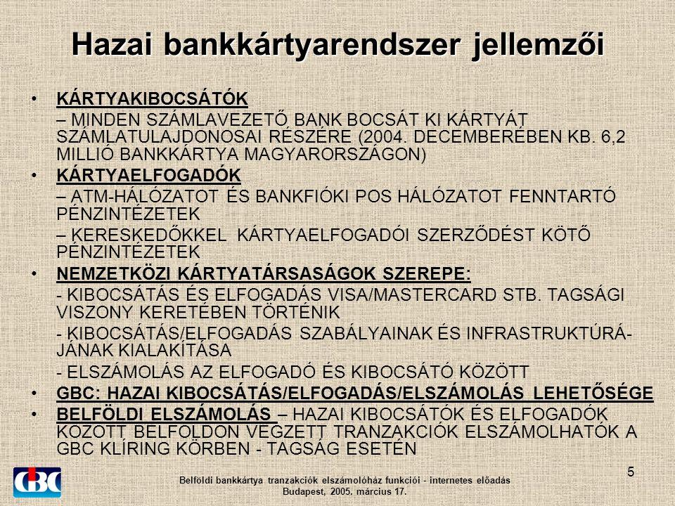 5 Hazai bankkártyarendszer jellemzői KÁRTYAKIBOCSÁTÓK – MINDEN SZÁMLAVEZETŐ BANK BOCSÁT KI KÁRTYÁT SZÁMLATULAJDONOSAI RÉSZÉRE (2004.