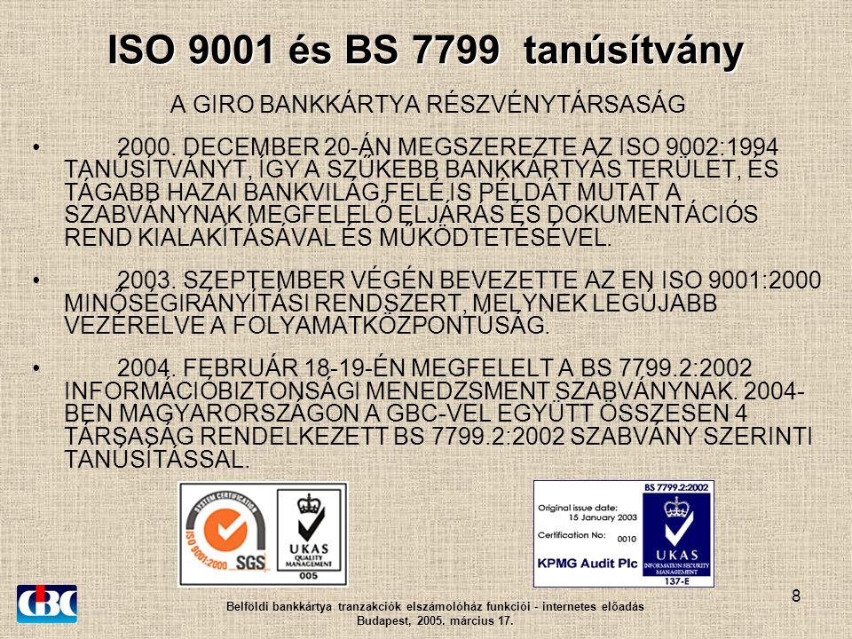 8 ISO 9001 és BS 7799 tanúsítvány A GIRO BANKKÁRTYA RÉSZVÉNYTÁRSASÁG 2000.