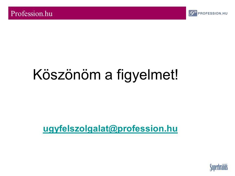 Köszönöm a figyelmet! Profession.hu ugyfelszolgalat@profession.hu