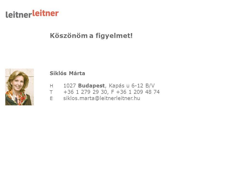 Köszönöm a figyelmet! Siklós Márta H 1027 Budapest, Kapás u 6-12 B/V T +36 1 279 29 30, F +36 1 209 48 74 E siklos.marta@leitnerleitner.hu